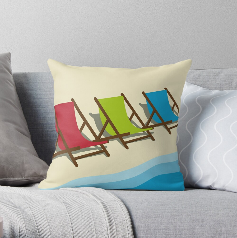 Deck Chairs on the Beach Throw Pillow