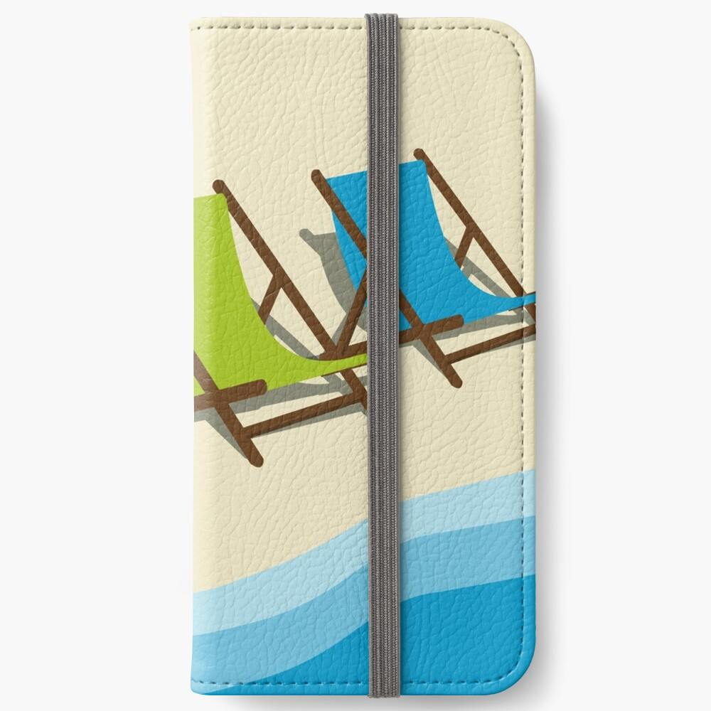 Deck Chairs on the Beach iPhone Wallet