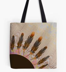 Boho Feather Sun and Wavy Pastel Lines Tote Bag