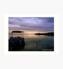 Pontoon Boat Sunrise Art Print