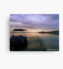 Pontoon Boat Sunrise Metal Print