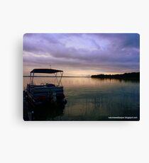 Pontoon Boat Sunrise Canvas Print