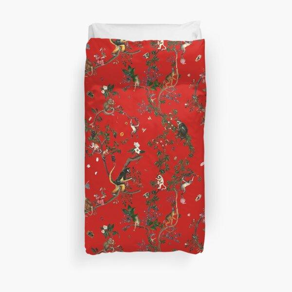 Monkey World Red Duvet Cover