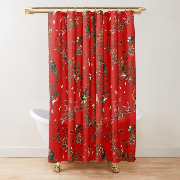 Monkey World Red Shower Curtain