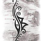 Berkana Rune im Tribal Tattoo Style von Christine Krahl