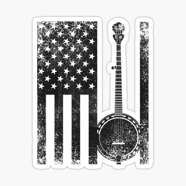 Banjo Patriotic American Flag Banjo Lover T-shirt Sticker