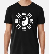 Yin Yang, I Ching, Martial Arts, Chinese, WHITE on BLACK Premium T-Shirt