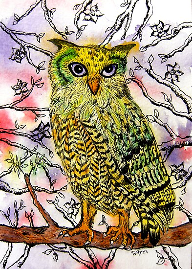Yellow Owl by stephanie allison