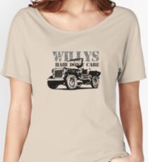 Willys Hair Don't Care -Funny Jeep Willys MB Gift Shirt Women's Relaxed Fit T-Shirt