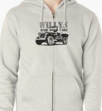 Willys Hair Don't Care -Funny Jeep Willys MB Gift Shirt Zipped Hoodie