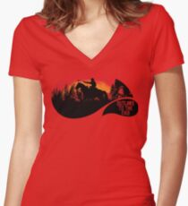 """""""Outlaws To The End""""- Red Dead Redemption 2 Women's Fitted V-Neck T-Shirt"""