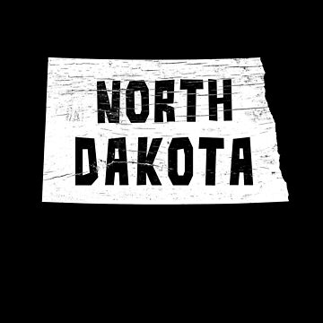 North Dakota Home Vintage Distressed Map Silhouette by YLGraphics