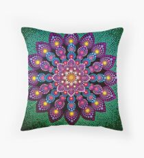Purple & Green Dot Mandala - Art&Deco By Natasha Throw Pillow