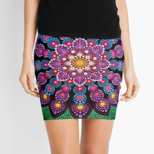 Purple & Green Dot Mandala - Art&Deco By Natasha Mini Skirt