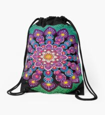 Purple & Green Dot Mandala - Art&Deco By Natasha Drawstring Bag
