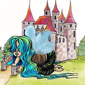 Feenhaftes Baby, das mit einer Burg spielt von Aryahvayu