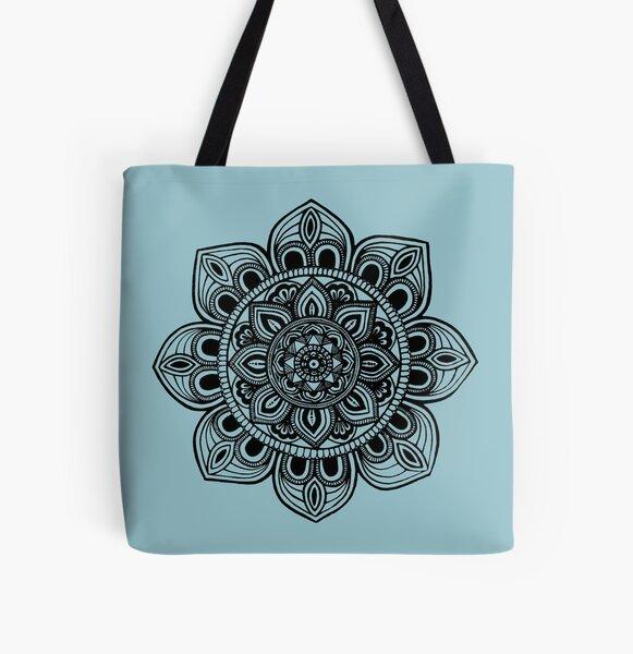Black Mural Mandala - Art&Deco By Natasha All Over Print Tote Bag