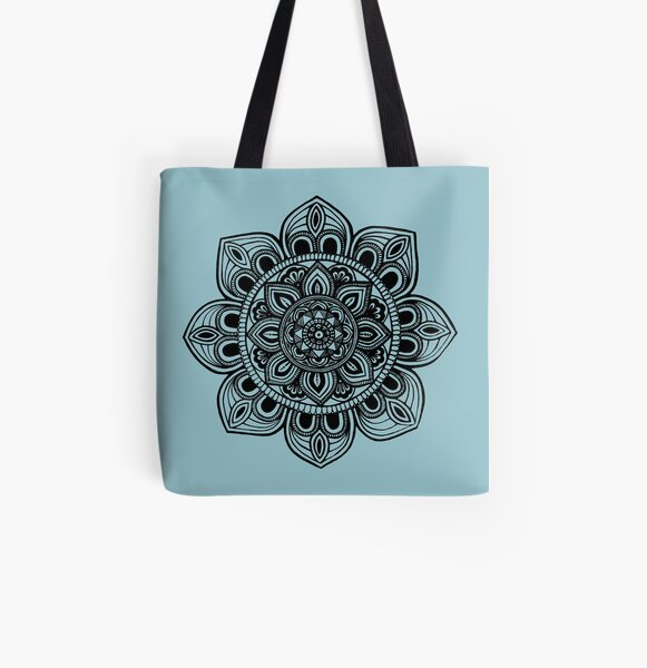 Black Mural Mandala - Art&Deco By Natasha All Over Print Tote Bag