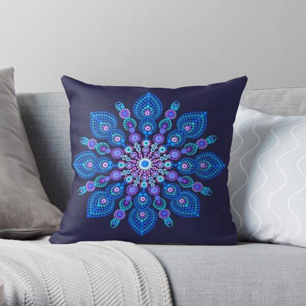 Light Blue Snow Flake Mandala - Art&Deco By Natasha Throw Pillow