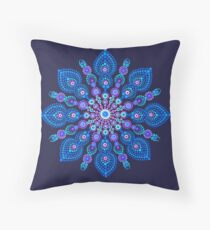 Light Blue Snow Flake Mandala - Art&Deco By Natasha Throw Pillow