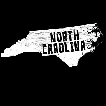 North Carolina Home Vintage Distressed Map Silhouette by YLGraphics