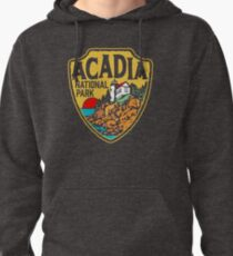 Acadia National Park Vintage Style Badge w/ Maine Coast & Lighthouse  Pullover Hoodie