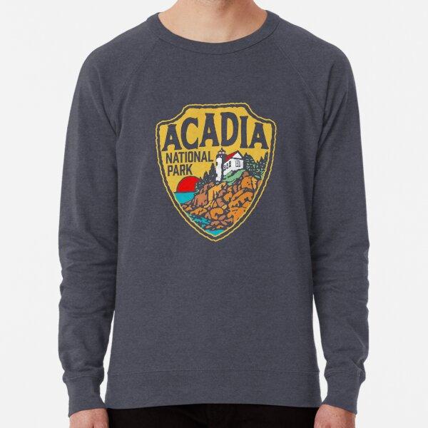 Acadia National Park Vintage Style Badge w/ Maine Coast & Lighthouse  Lightweight Sweatshirt