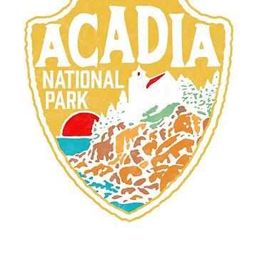 Acadia National Park Vintage Style Badge w/ Maine Coast & Lighthouse  by robotbasecamp