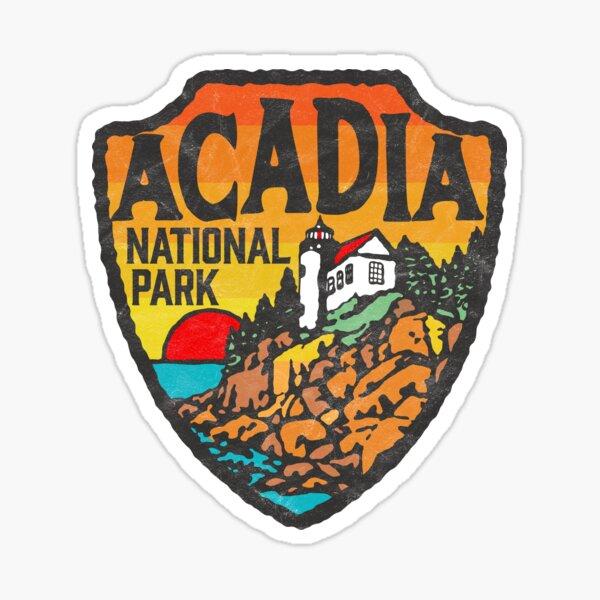 Acadia National Park Vintage Style Badge w/ Maine Coast & Lighthouse  Sticker