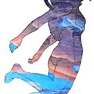 Clothos - Space Girl Floating White Background by Ciara Barsotti