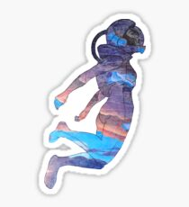 Clothos - Space Girl Floating White Background Sticker