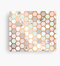 Luxurious Marbled Golden Honeycomb Pattern Canvas Print