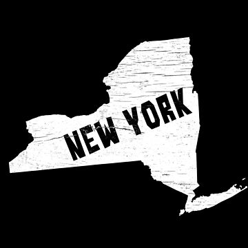 New York Home Vintage Distressed Map Silhouette by YLGraphics