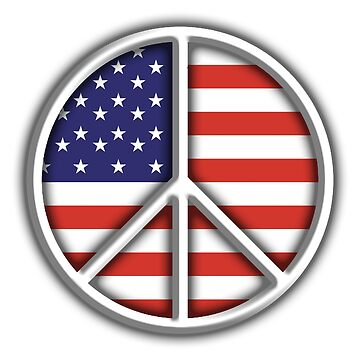 AMERICAN PEACE SIGN, SYMBOL, Ban the bomb, CND by TOMSREDBUBBLE