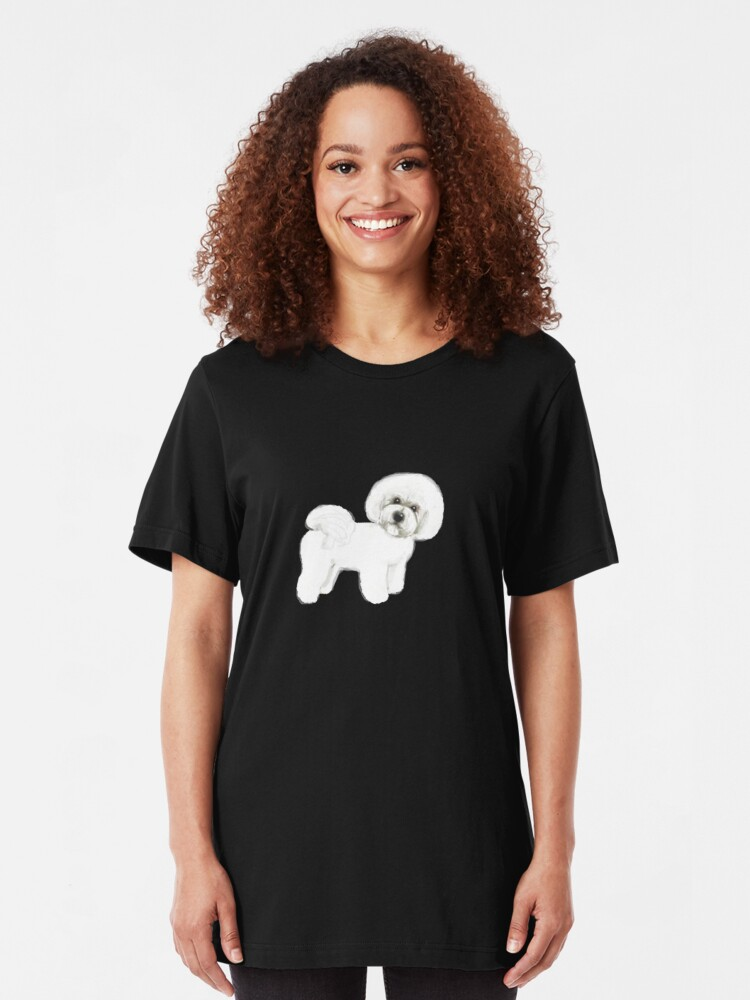 Alternate view of Bichon Frise dog Slim Fit T-Shirt
