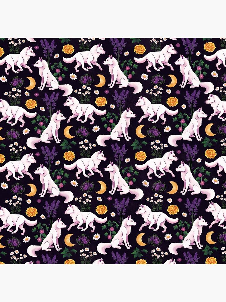 Weißes Wolf Blumenmuster von sophieeves90