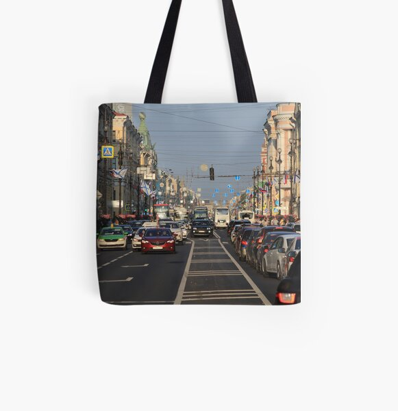 Cars traffic on Nevsky Prospect All Over Print Tote Bag
