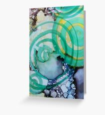Swirly Greens and Blues Greeting Card