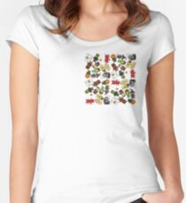 Pixel Halloween Monsters Pattern (small) Women's Fitted Scoop T-Shirt