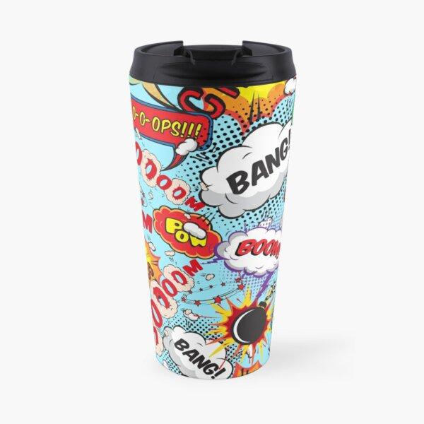 Comic Book Bam Pow Bang Crash Pattern Travel Mug