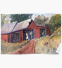 Hillside Talk - Rural Barn - Landscape Poster