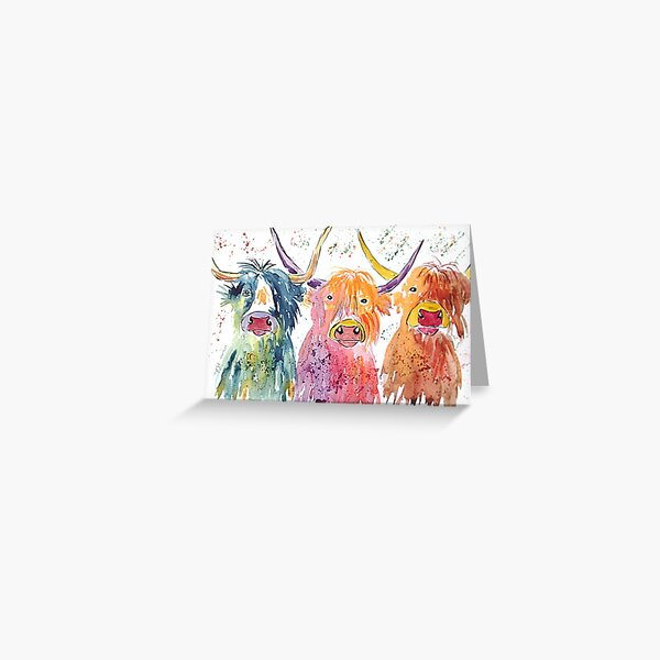 Three quirky colourful Highland cows Greeting Card
