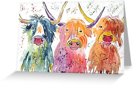 Three quirky colourful Highland cows by Casimirasart