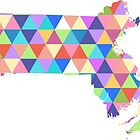 Massachusetts Colorful Hipster Geometric Triangles Boston by CorrieJacobs