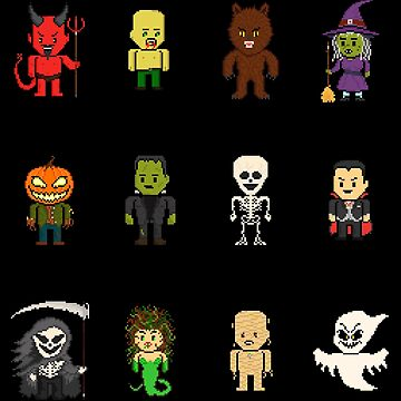 12 Halloween Pixel Monsters by gkillerb