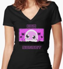 EGA SUNSET with pixel graphics Women's Fitted V-Neck T-Shirt