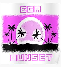 EGA SUNSET with pixel graphics Poster