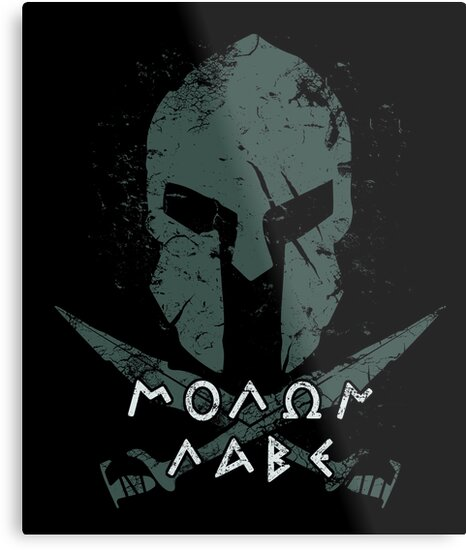 Spartan Molon Labe Helmet T-Shirt by Acroxth