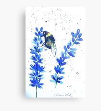 Bumble bee and blue flowers Metal Print