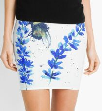 Bumble bee and blue flowers Mini Skirt